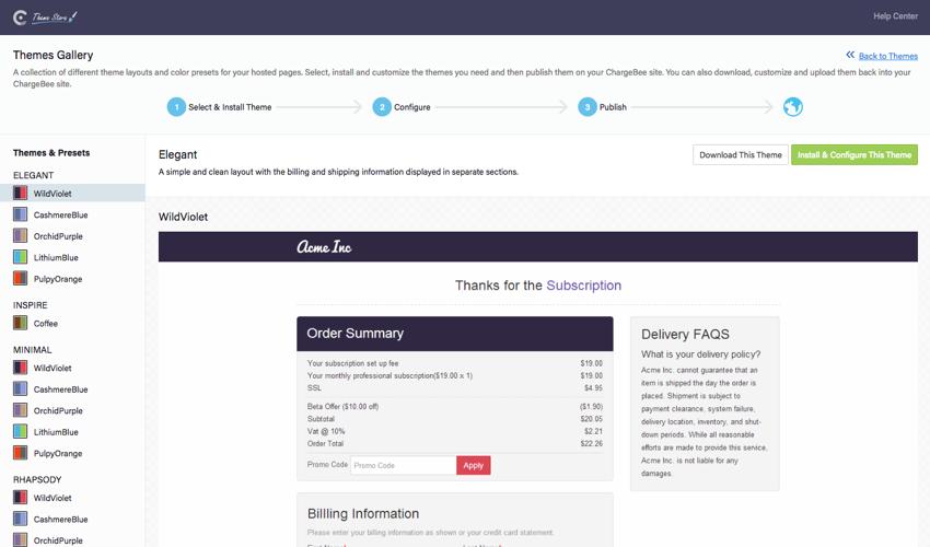 Webpage screenshot example of Chargebee account dashboard theme picker sample custom windows