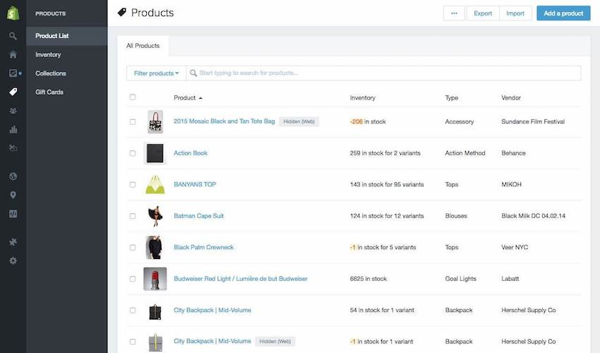 Webpage screenshot example of shopify account dashboard products listings